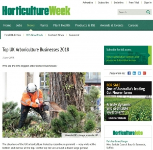 Top 10 Arb Businesses, Horticulture Week, June 2018